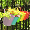KINGLAKE Flower Pots,10 Pcs Metal Iron Hanging Flower Plant Pots Balcony Garden Plant Planter Baskets Fence Bucket Pots 3.94'' Flower Holders with Detachable Hook