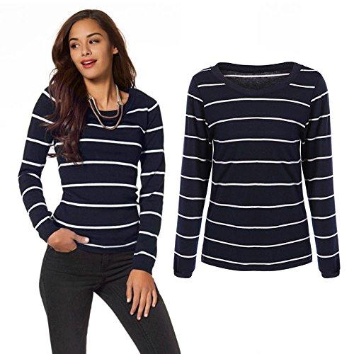 Femmes rayé décontracté à manches longues Slim Skinny Basic T-Shirt Blouse