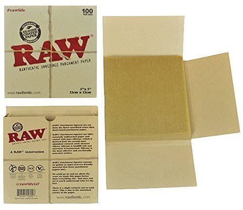 RAW Unrefined Parchment Paper Squares 5' x 5' 100 Sheet Pack