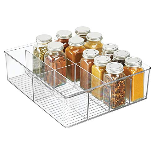 mDesign Plastic Extra Wide Food Storage Organizer Bin Caddy for Kitchen, Pantry, Cabinet, Countertop - Holds Baking Supplies, Spices, Pouches, Dressing Mixes, Tea, Sugar Packets - 8 Sections - Clear ()