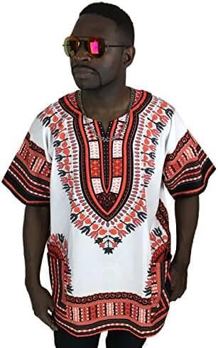 Dashiki Shirt African Top Clothing Kaftan White and Reddish M