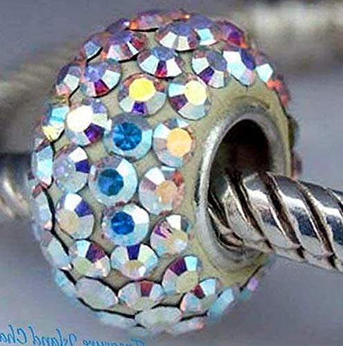 - Lot of 1 Pc. AB Aurora Borealis Crystal .925 Sterling Silver European Bead Charm Single Core Vintage Crafting Pendant Jewelry Making Supplies - DIY for Necklace Bracelet Accessories by CharmingSS
