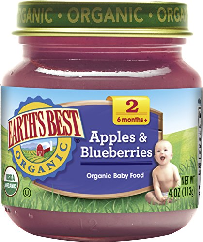 Earth's Best Organic Stage 2 Baby Food, Apples and Blueberries, 4 oz. Jar (Pack of 12)