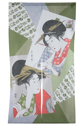 Made in Japan Noren Curtain Tapestry Ukiyoe Bijin Two Beauties