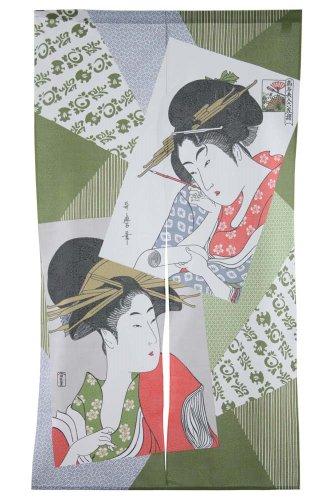 Made in Japan Noren Curtain Tapestry Ukiyoe Bijin Two Beauties