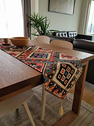 Secret Sea Collection, Modern Bohemian Style Table Runner, Washable, Tapestry, (88''x14'') (Tapestries Collection Modern)