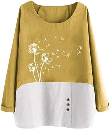 ღ YGbuy ♕ Botones con Estampado Floral para Mujer Blusas Sueltas ...