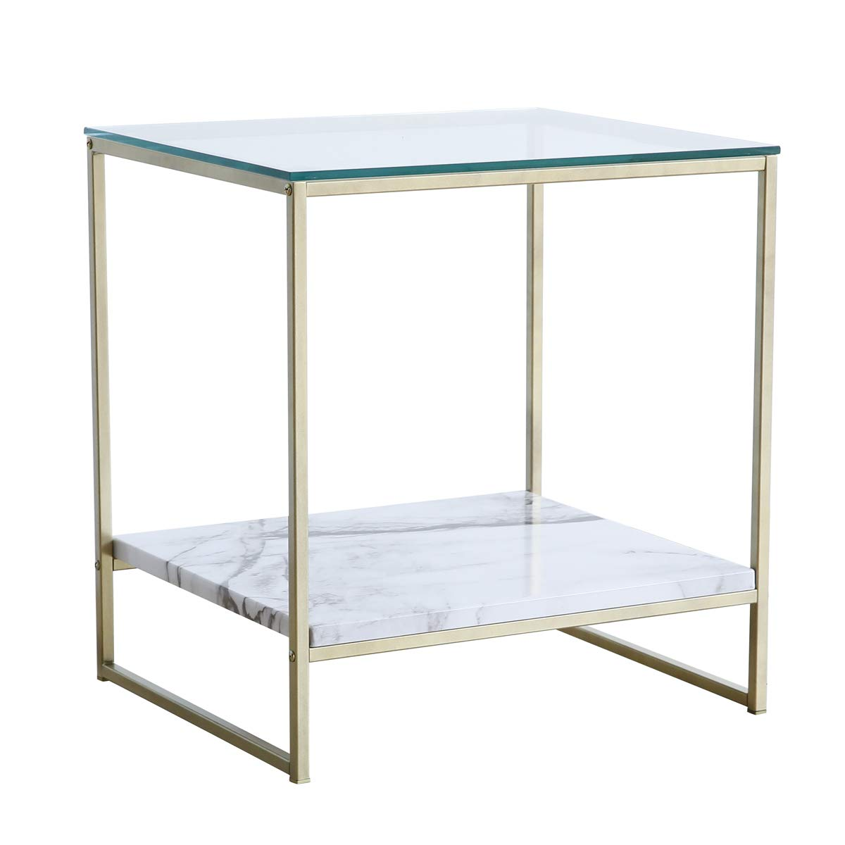 Tilly Lin Glass Top Faux Marble End Side Table/Night Stand with Gold Metal Legs by Tilly Lin
