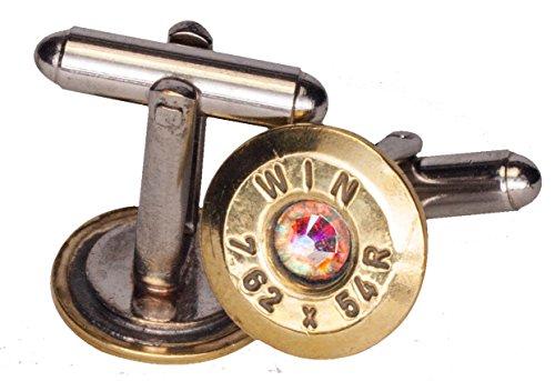 7.62 X 54R Brass Cuff Links w/Swarovski Crystals - Aurora Borealis (Winchester)