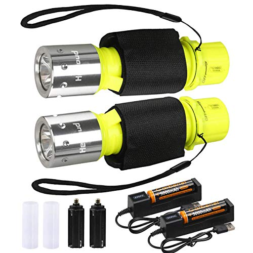 HeCloud 2 Pack LED XM-T6 Professional Diving Flashlight with Battery Charger, Bright LED Submarine Light Scuba Safety Lights Waterproof Underwater Torch for Outdoor Under Water Sports (Yellow)