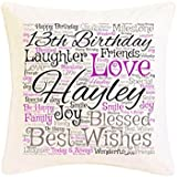Personalised 13th Birthday Word Art Faux Silk Cushion. Personalised details required. by Pure Essence Greetings