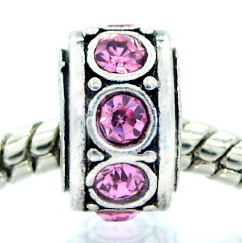 "Pro Jewelry "" Birthstone June Lt Ameythst / Lt Pink Rhinestone"" Bead Charm for Snake Chain Charm Bracelet"