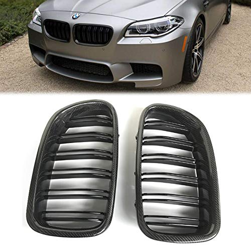 GZYF Kidney Front Grill, Double Strip Grille Replacement Compatible with BMW 5-Series F10 Sedan 2010-2016, Carbon Fiber Look
