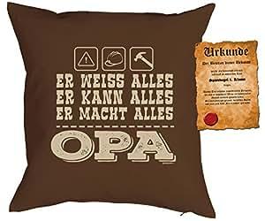 Cooles Europa regalo Cojín en marrón, incluye relleno y divertido Escrituras: ER Blanco Todo se puede todo Que Hace todo Europa