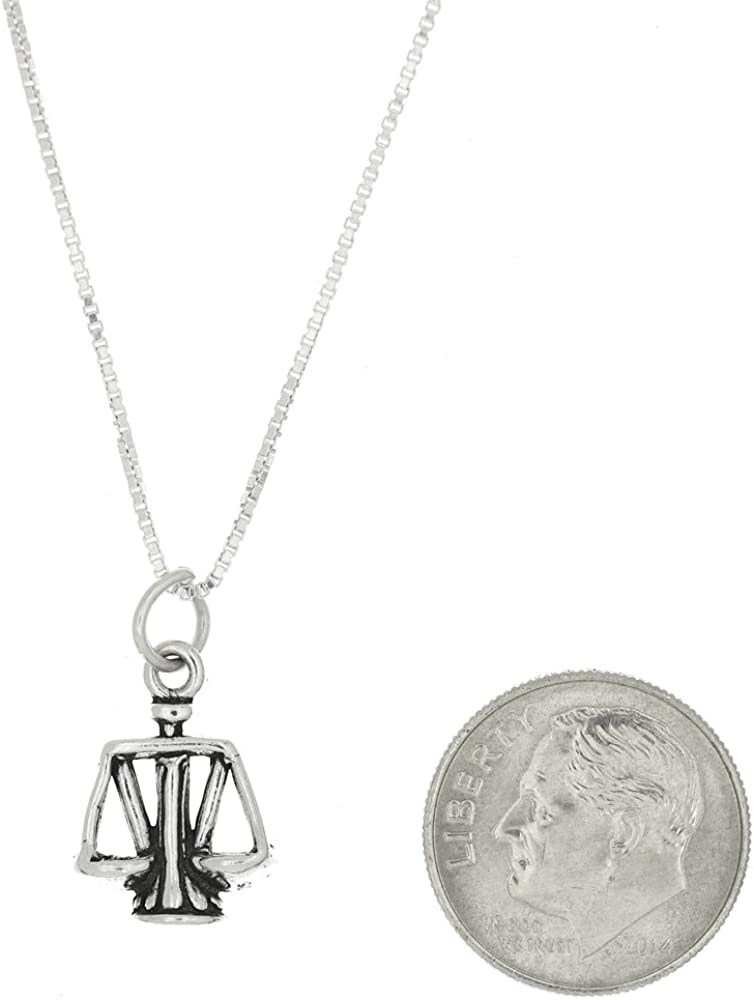Sterling Silver Double Sided Small Scales of Justice Necklace