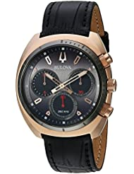 Bulova Mens Curv Collection Quartz Stainless Steel and Leather Casual Watch, Color:Black (Model: 98A156)