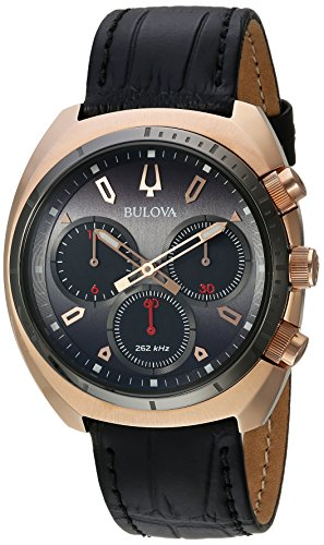(Bulova Men's Curv Collection Stainless Steel Analog-Quartz Watch with Leather-Alligator Strap, Black, 22 (Model: 98A156))