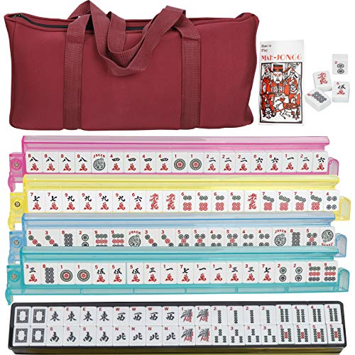 Smartxchoices 166 Tiles Mah Jongg Set American Mahjong 4 Color Pushers/Racks Mahjongg Game with Soft Velour Bag Case,Western Mahjongg Tiles