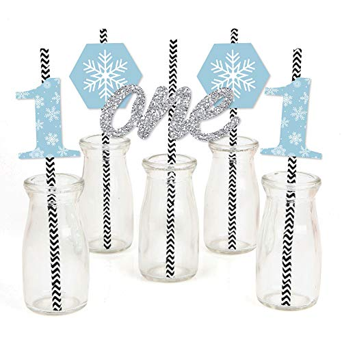 ONEderland - Paper Straw Decor - Holiday Snowflake Winter Wonderland Birthday Party Striped Decorative Straws - Set of 24 -