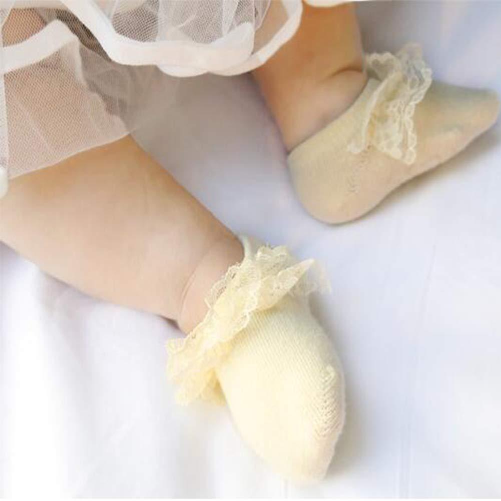 6Pack Non-skid Cotton Jane Socks Flower Bowknot Lace Walker Sock for Baby Newborn Infant Girl