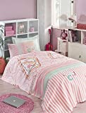 LaModaHome Luxury Soft Colored Twin and Single Bedroom Bedding 100% Cotton Single Coverlet (Pique) Thin Coverlet Summer/I Love My Cat Animal Line Motif Pink Background Design