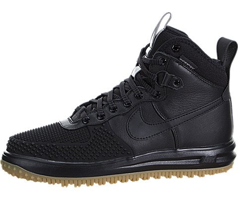 Nike Mens Lunar Force 1 Duckboot Black/Black/Metallic Silver/An Boot 12 Men US