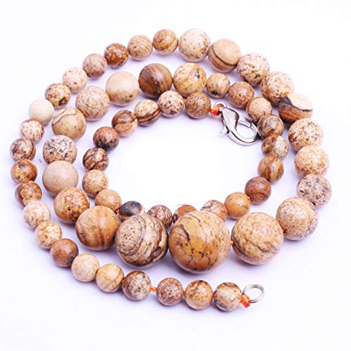 GEM-Inside Natural 6-14mm Picture Jasper Crystal Necklace Stands 19 Inches Fashion Jewellry Pendant Graduated Loose Beads for Jewelry Making Jewelry Beading Supplies for Women