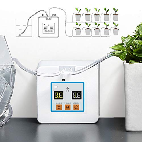 Automatic Drip Irrigation Kit, Self Watering System with Timer and USB Charging for Deck, Patio, Garden, Vegetable Gardens or Potted Plants, DIY 30-Day Programmable Water Timer for 10 Pots Flowers (Automated Watering Plant)