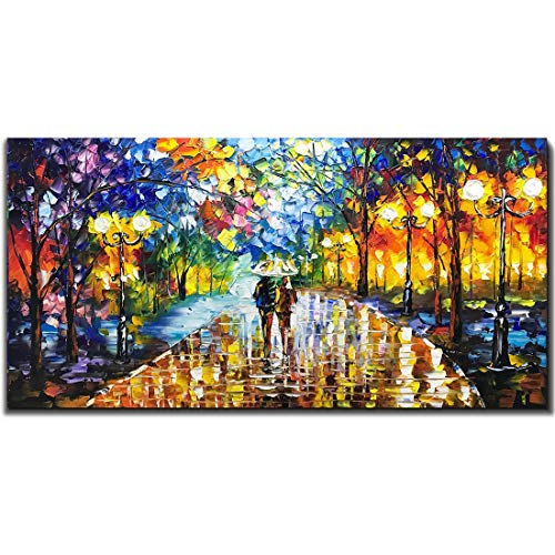 V-inspire Art, 24X48 inch Modern Abstract Canvas Oil Paintings Wall Art Rain Night Street View Hand Painted Acrylic Art Wood Frame Painting Living Room Bedroom Office Decoration Ready for Hanging (For Large Paintings Living Room)