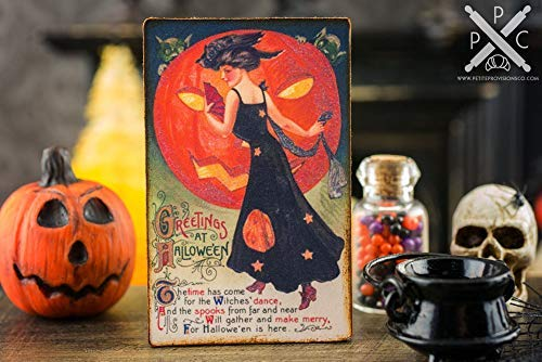 Iliogine Wooden Home Sign Gift Plaque Miniature Vintage Halloween Witches Dance Sign Decorative Halloween Sign Cabin Decor Hanging Door Sign Plaque Gift]()