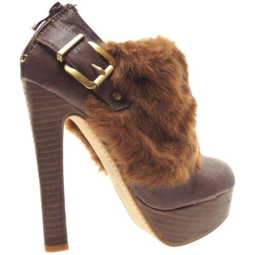 Kickly–Zapato Mode zapato plataforma Stiletto Tobillo mujer piel talón bloque 14cm–Interior Leopardo–Marrón/Oro