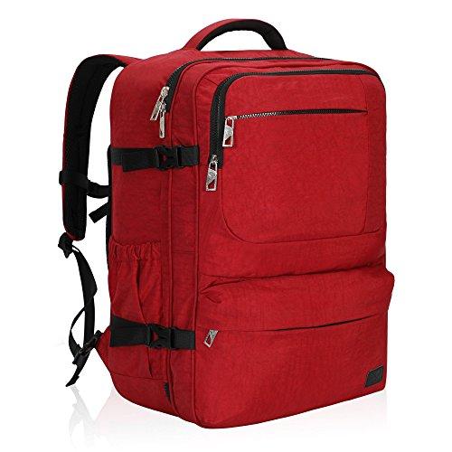 Hideaway Backpack Straps - Hynes Eagle 44L Carry on Backpack Flight Approved Compression Travel Pack Cabin Bag, Red-2018
