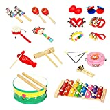 LUCKSTAR Kids Musical Instruments 18 Pieces - Percussion Toy Rhythm Band Set Children Toddlers Musical Toys Gift for Baby / Kid / Child (18pcs)