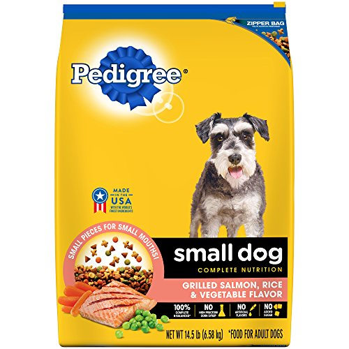 PEDIGREE Small Dog Adult Complete Nutrition Grilled Salmon, Rice and Vegetable Flavor Dry Dog Food; 100% Complete and Balanced, for wellness and whole body health