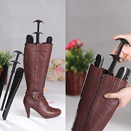 1 Pair Lady Women Automatic Boot Trees Shapers With Handle 12.5 inch Plastic Home Boots Shoes Stand Holder Support 40cm Long Black 2 Pair