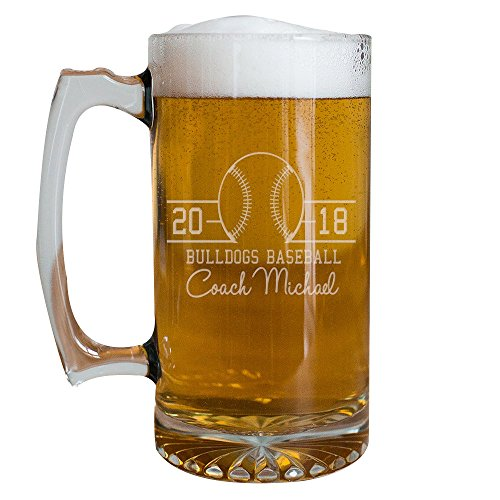 (GiftsForYouNow Personalized Coach Sport Glass Mug, Baseball)