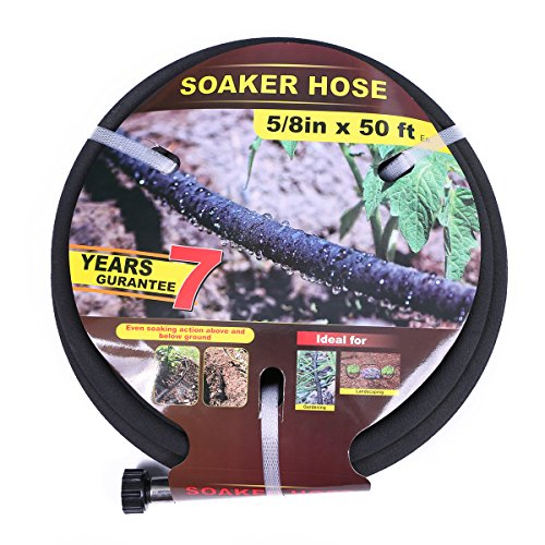 Taisia 5/8 inch Soaker Hose 50ft Lead Free Saves 70%Water Perfect Delivery of Water Great for Garden Flower Bed (5/8inch-50ft)