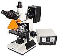Omano OMFL400 - Trinocular - Upright Fluorescence Compound Microscope - 4pc Plan Objective Lenses - 2pc FL Objectives - 100W Mercury Lamp - Centering Telescope - Integrated Halogen Illumination