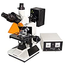 Omano OMFL400 - Trinocular - Upright Fluorescence Compound Microscope - 4pc Plan Objective Lenses - 2pc FL Objectives - 100W Mercury Lamp - Centering Telescope - Integrated Halogen Illumination