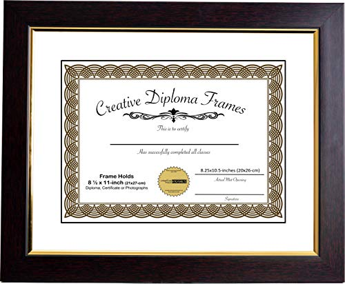 CreativePF [mhg024] 11x14-inch Matted Eco Mahogany Diploma Frame Gold Lip with White/Black Core Mat Holds 8.5x11-inch Media, with Installed Hangers