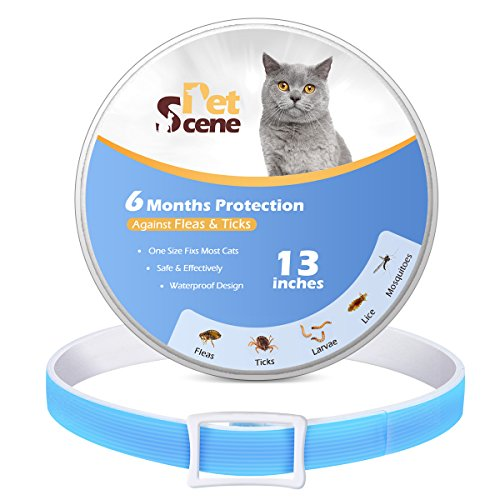 PetScene Flea and Tick Collar for cats, Flea Repellent, Fully Adjustable One Size Fits All - Waterproof (6 Months 13 Inches)