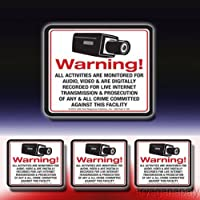 1 VAS #140SDK Security Sign & Decal Kit 21st Century Warning Sign (1) Sign & (3) Matching Decals for Video Alarm Securit
