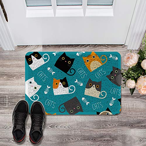 - Prime Leader Soft Outdoor Indoor Doormats Absorbs Mud Carpet- Cute Cat and Fishbones for Children Decoration 18 x 30 inches, Machine Washable All Weather Durable Waterproof Decorative Floor Mat