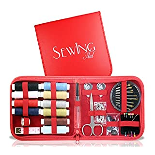 Sewing Aid Kit, Small Red Case with 72 Best Supplies for Emergencies, 1000 yds of Threads & Self-Threading Needle, Great Gift for Travelers, Kids & College Students, E-book for Beginners Included