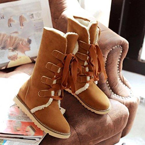 Inverno Stivali La Donne Moda Tefamore Caviglia Femmina Giallo Neve Bendare Stivali 1wqzWIAxR