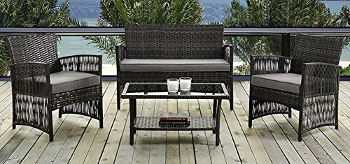 4 PCS Patio Dining Set, Garden Outdoor Lawn Sofa Balcony Furniture Set Compact Rattan Wicker Brown Cushion Seat by IDS HOME
