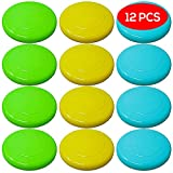 12 Coloured Frisbees - Choice of Bright Colours Flying Saucers - Ideal Fun for Adults and Kids