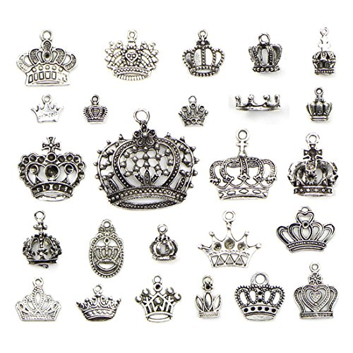 Crown Charm Pendant Necklace - JIALEEY Crown Charms Pendants Beads, Vintage Silver Multistyle Crown Charm Pendant Connector for DIY Jewelry Making Accessaries Craft Supplies Bulk Lots, 25 Pcs