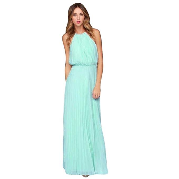 Kinlene Mujer Vestidos Color Sólido Fiesta Largos Elegantes Tallas Grandes Vestidos Casual Playa Falda(S