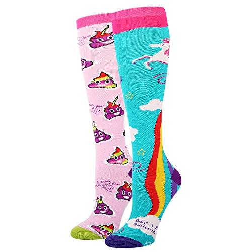 Women Girls Novelty Funny Colorful Knee High Socks Crazy Rainbow Unicorn Poop Emoji School Boot Socks 2 ()